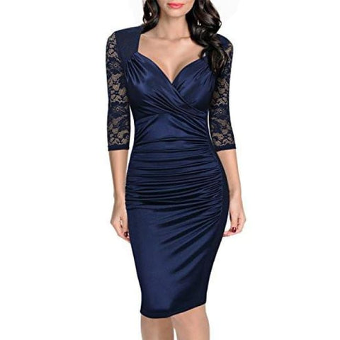 Miusol Womens Deep-V Neck Ruffles Floral Lace Fitted Retro Evening Pencil Dress Back To Results