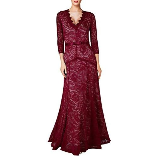 Miusol Womens Floral Lace 2/3 Sleeves Long Bridesmaid Maxi Dress Back To Miusol Store