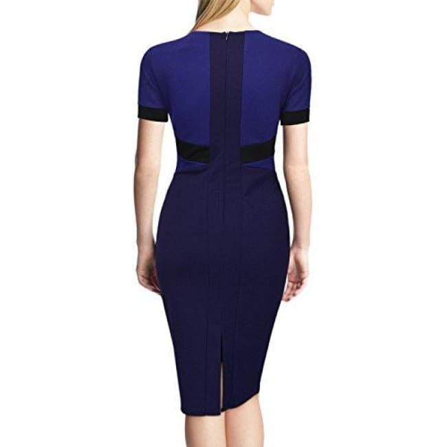 Miusol Womens Official Scoop Neck Optical Illusion Business Pencil Midi Dress Back To Results