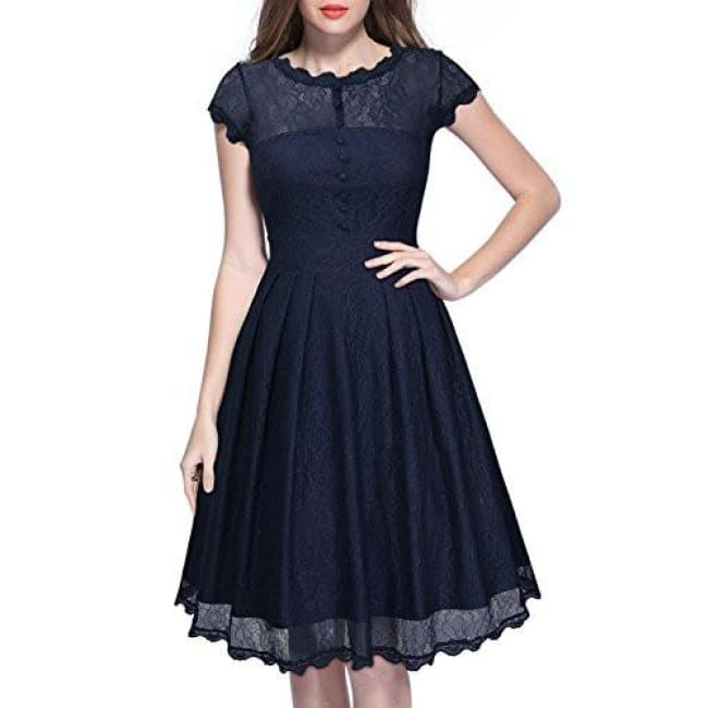 Miusol Womens Retro Floral Lace Cap Sleeve Vintage Swing Bridesmaid Dress Back To Results
