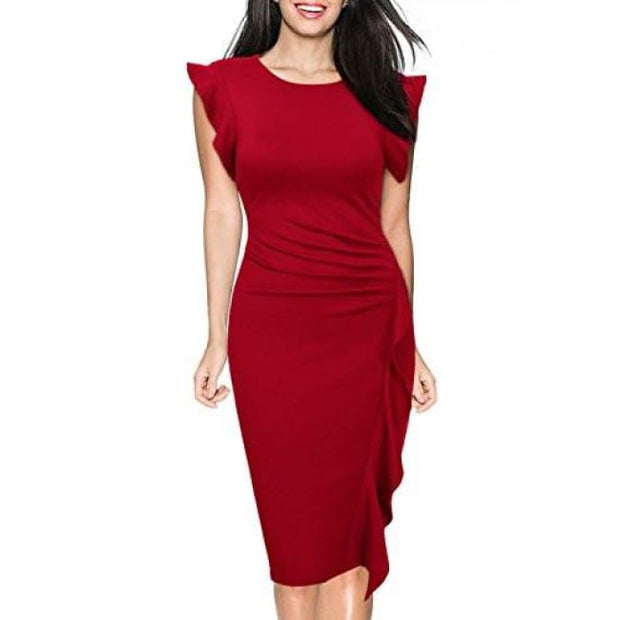 Miusol Womens Retro Ruffles Cap Sleeve Slim Business Pencil Cocktail Dress Back To Miusol Store