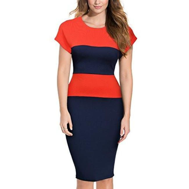 Miusol Womens Retro Scoop Neck Cap Sleeve Optical Illusion Slim Bodycon Pencil Dress Back To Results