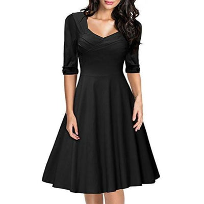 Miusol Womens Retro V-Neck Half Sleeve Bridesmaid Party Swing Dress Back To Results