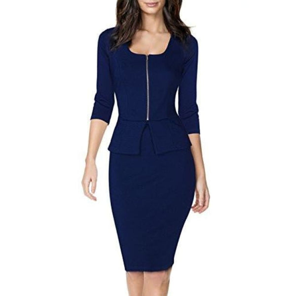 Miusol Womens Square Neck Busniess Peplum Fitted Casual Bodycon Dress Back To Results