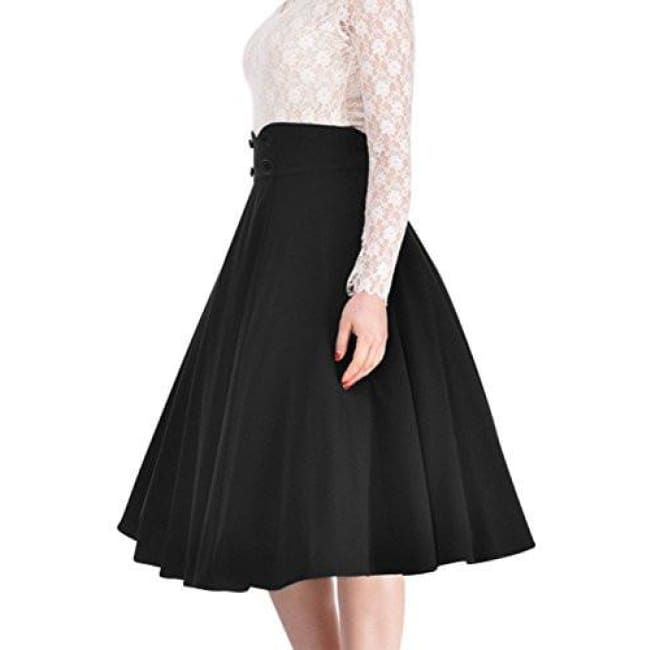 Miusol Womens Vintage High Waist A-Line Retro Casual Swing Skirt Back To Results