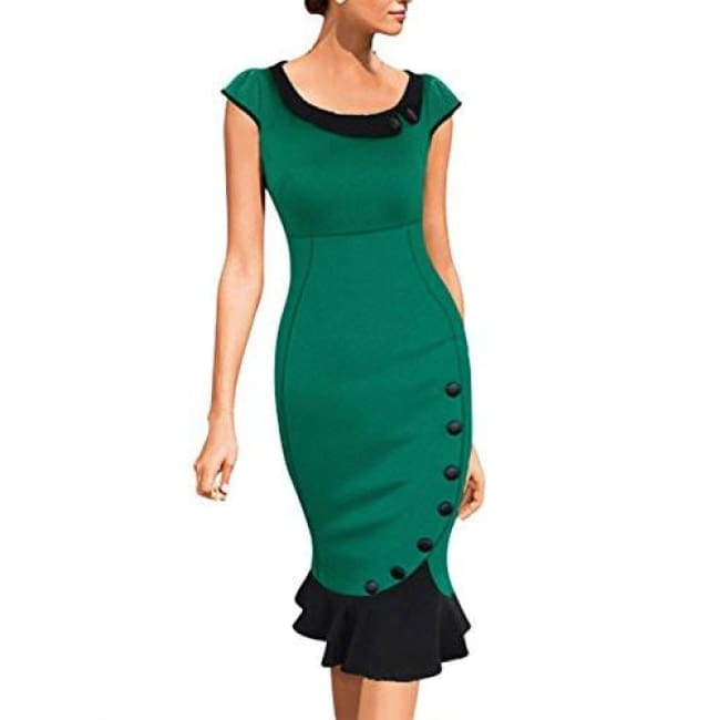 Miusol Womens Vintage Scoop Neck Contrast Bridesmaid Cocktail Bodycon Dress Back To Results