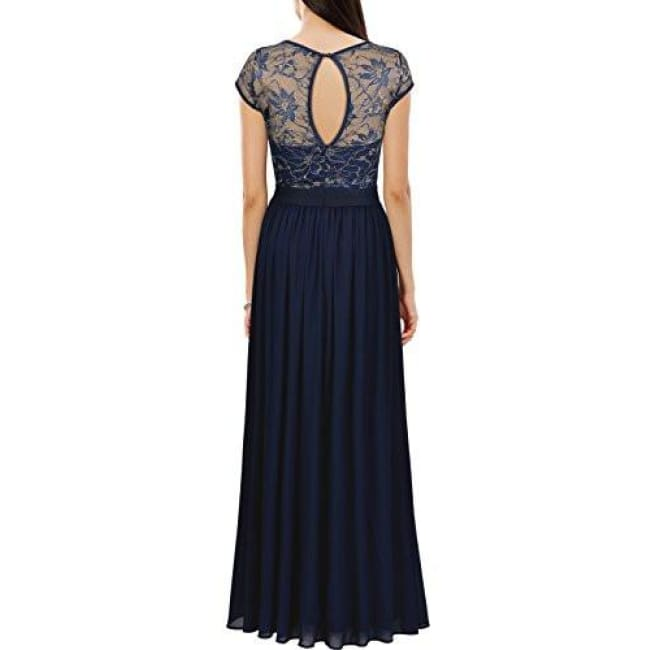 Miusol Womens Vintage Scoop Neck Floral Lace Bridesmaid Wedding Maxi Dress Back To Results