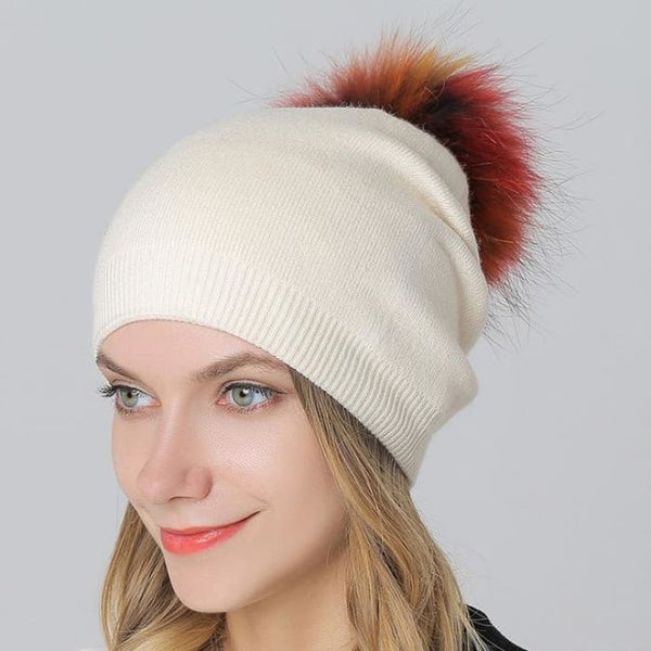 Multi-Color 15Cm Raccoon Fur Pompom Hats & Caps For Women Winter Wool Knitted Beige Skullies & Beanies