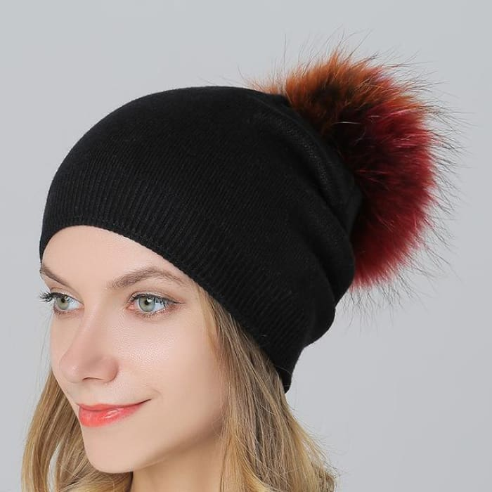 Multi-Color 15Cm Raccoon Fur Pompom Hats & Caps For Women Winter Wool Knitted Black Skullies & Beanies