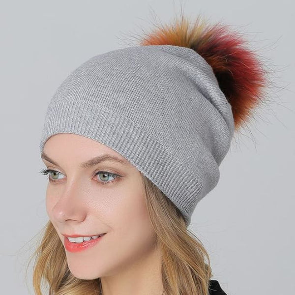 Multi-Color 15Cm Raccoon Fur Pompom Hats & Caps For Women Winter Wool Knitted Gray Skullies & Beanies