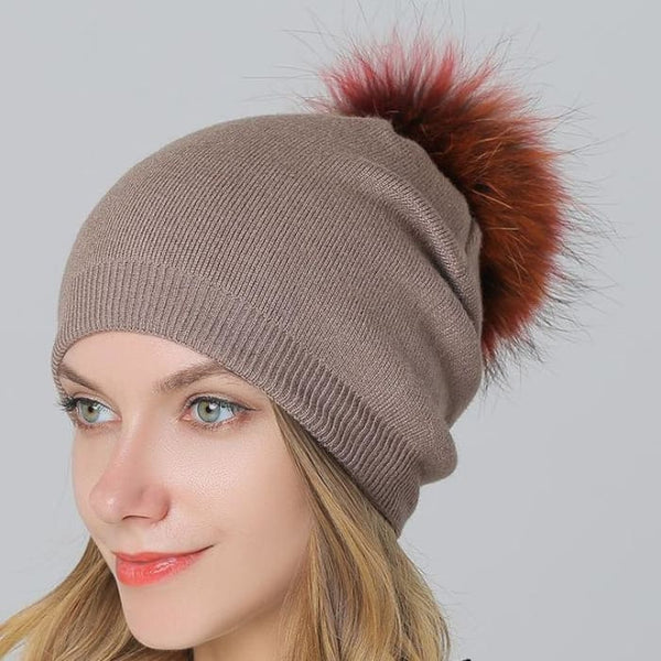 Multi-Color 15Cm Raccoon Fur Pompom Hats & Caps For Women Winter Wool Knitted Khaki Skullies & Beanies