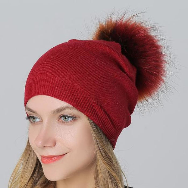 Multi-Color 15Cm Raccoon Fur Pompom Hats & Caps For Women Winter Wool Knitted Wine Skullies & Beanies