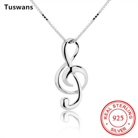 Musical Note Pendant Necklace 925 Sterling Silver Chain Pendant Necklaces