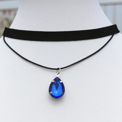 N901 90S Chokers Necklaces For Women Black Velvet Drop Crystal Pendant Double Layer Collares Fashion Jewelry Gothic Bijoux 2017