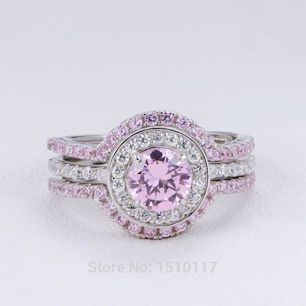 New 100% Genuine 925 Sterling Silver Halo Wedding Ring Sets Double Bands Pink Zirconia Romantic Jewelry For Women Ship From Usa Rings