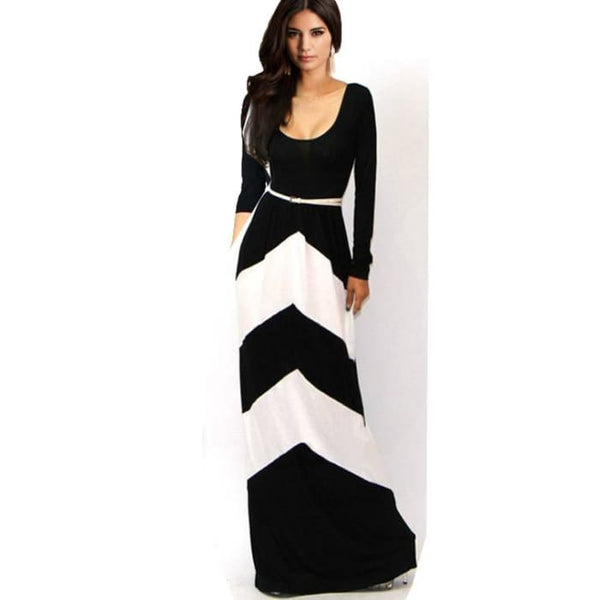 New Arrival 2015 Spring Summer Women Ladies High Waist Long Sleeve Floor Length Bodycon Casual Dresses Vestido Longo Bk0013 White / L