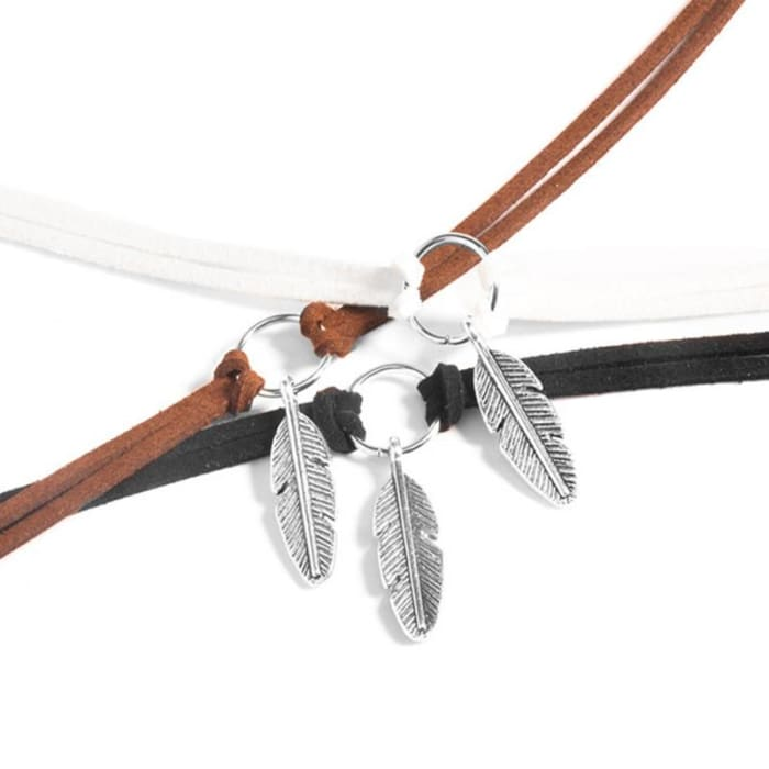 9fc8f4107573 ... New Bohemian Style Leather Metallic Feather Charms Choker Necklace  Torques Women Collar Necklace Jewelry Free Shipping ...