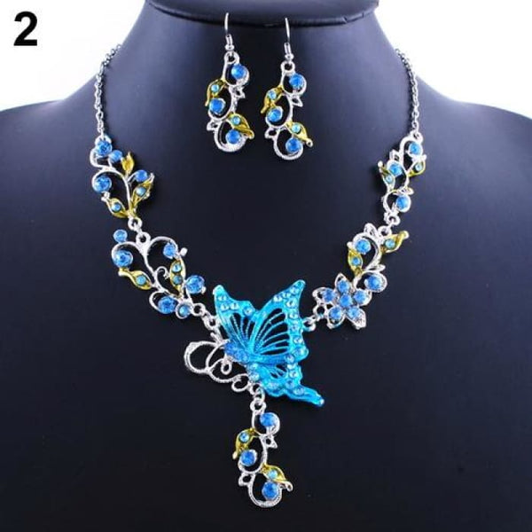 New Brides Butterfly Flower Rhinestone Pendant Bib Statement Necklace Blue Jewelry Sets