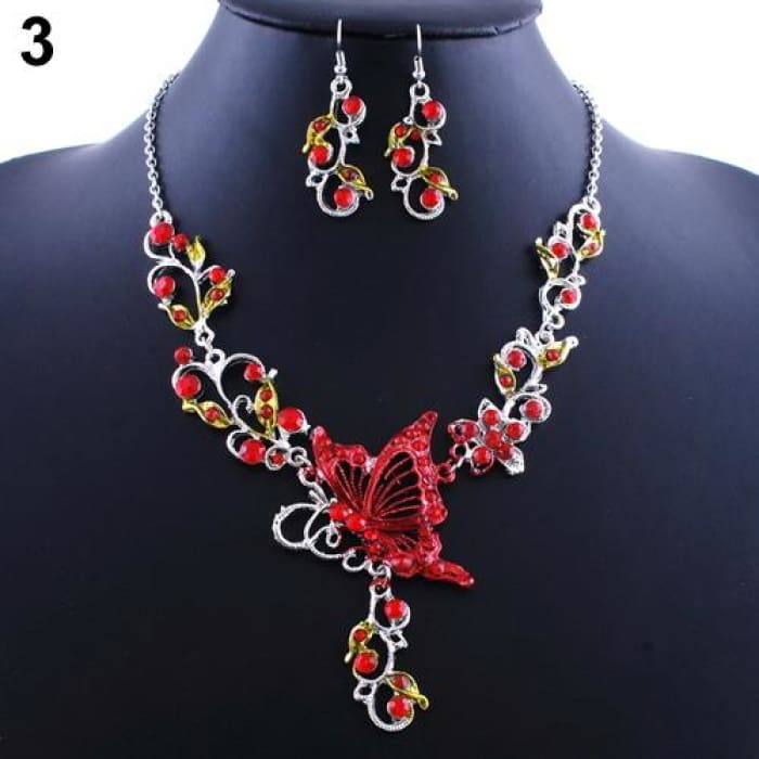 New Brides Butterfly Flower Rhinestone Pendant Bib Statement Necklace Red Jewelry Sets