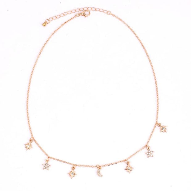New Fashion Trendy Jewelry Moon Star Choker Necklace Gift For Women Girl N2096 Pendant Necklaces