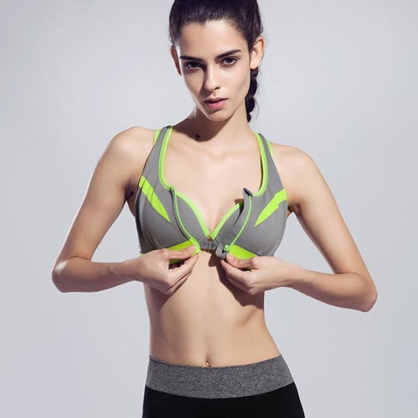 New Women Zipper Sports Bra Push Up Gray / S Yoga Shirts