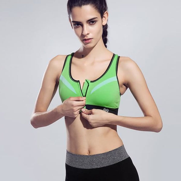 New Women Zipper Sports Bra Push Up Green / S Yoga Shirts