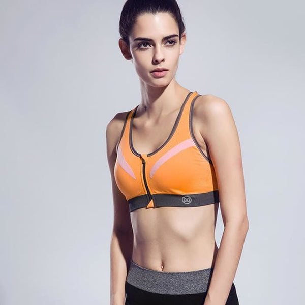 New Women Zipper Sports Bra Push Up Orange / S Yoga Shirts