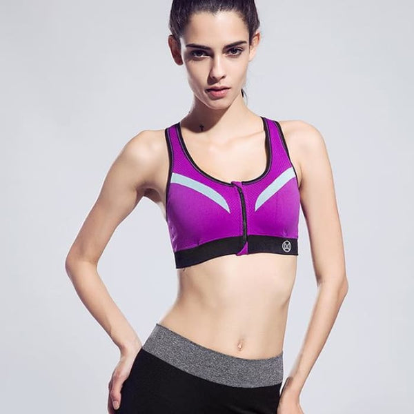 New Women Zipper Sports Bra Push Up Purple / S Yoga Shirts