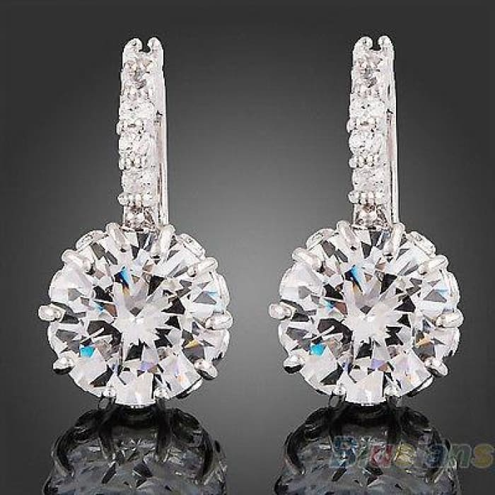 New Womens 18K White Gold Gp Clear Swarovski Crystal Zircon Cz Earrings See More Women S 18 K White Gold Gp Clear Swarovski Cry...