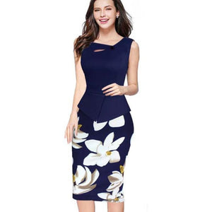 Nice-Forever 2016 New Arrival Print Floral Solid Patchwork Button Casual Work Sleeveless Bodycon Spring Summer Office Dress B288 Dark Blue /