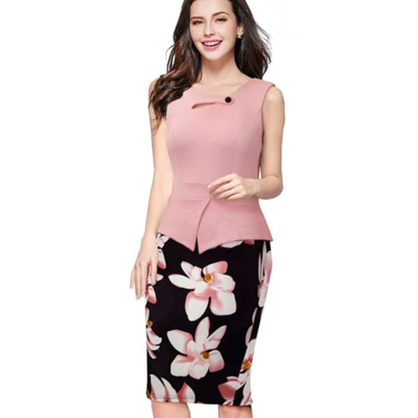Nice-Forever 2016 New Arrival Print Floral Solid Patchwork Button Casual Work Sleeveless Bodycon Spring Summer Office Dress B288 Light Pink