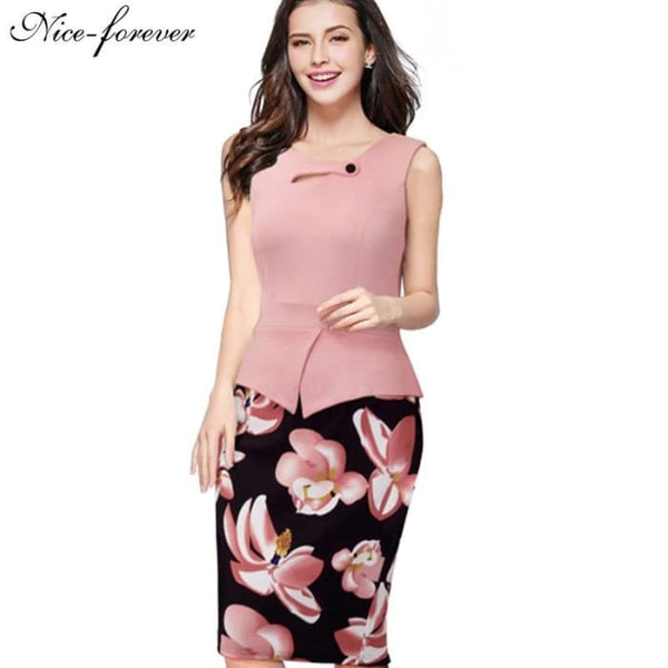 Nice-Forever 2016 New Arrival Print Floral Solid Patchwork Button Casual Work Sleeveless Bodycon Spring Summer Office Dress B288 Dresses