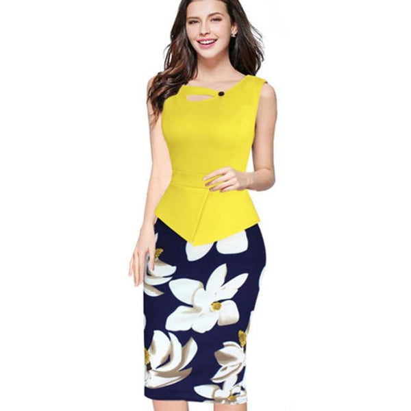 Nice-Forever 2016 New Arrival Print Floral Solid Patchwork Button Casual Work Sleeveless Bodycon Spring Summer Office Dress B288 Yellow / L