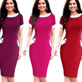 Nice-Forever Ladies Office Elegant Women Tunic Plus Size Work Dress Button Short Sleeve Bodycon Business Pencil Midi Dress 832 Dresses