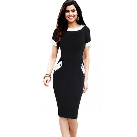Nice-Forever Ladies Office Elegant Women Tunic Plus Size Work Dress Button Short Sleeve Bodycon Business Pencil Midi Dress 832 Black / 4Xl
