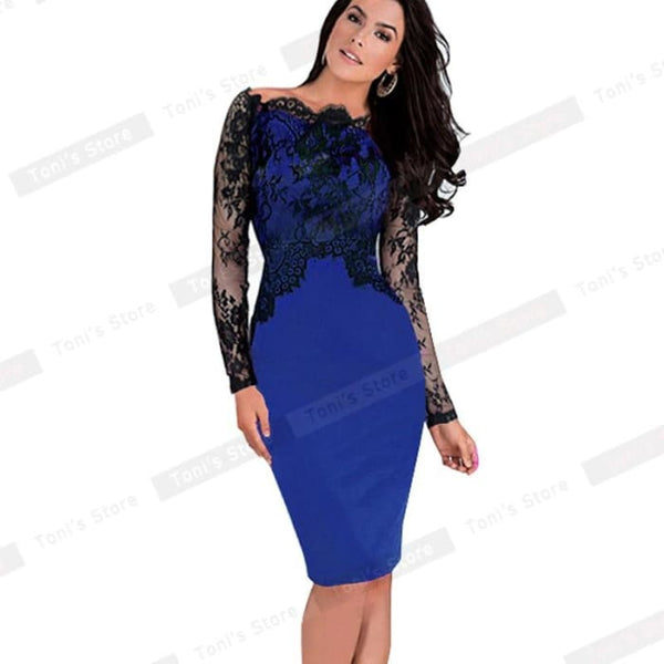 Nice-Forever Off-Shoulder Gorgeous Vintage Dress Sexy Slash Neck Lace Top Long Sleeve Zipper Club Wear Casual Pencil Dress 803 Blue / Xxxl
