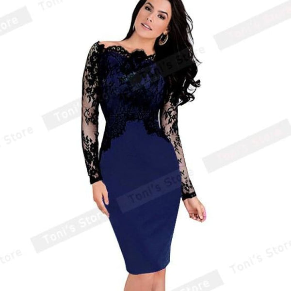Nice-Forever Off-Shoulder Gorgeous Vintage Dress Sexy Slash Neck Lace Top Long Sleeve Zipper Club Wear Casual Pencil Dress 803 Dark Blue /