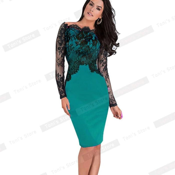 Nice-Forever Off-Shoulder Gorgeous Vintage Dress Sexy Slash Neck Lace Top Long Sleeve Zipper Club Wear Casual Pencil Dress 803 Green / Xxxl