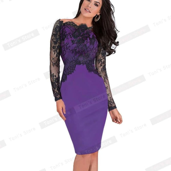 Nice-Forever Off-Shoulder Gorgeous Vintage Dress Sexy Slash Neck Lace Top Long Sleeve Zipper Club Wear Casual Pencil Dress 803 Purple / Xxxl