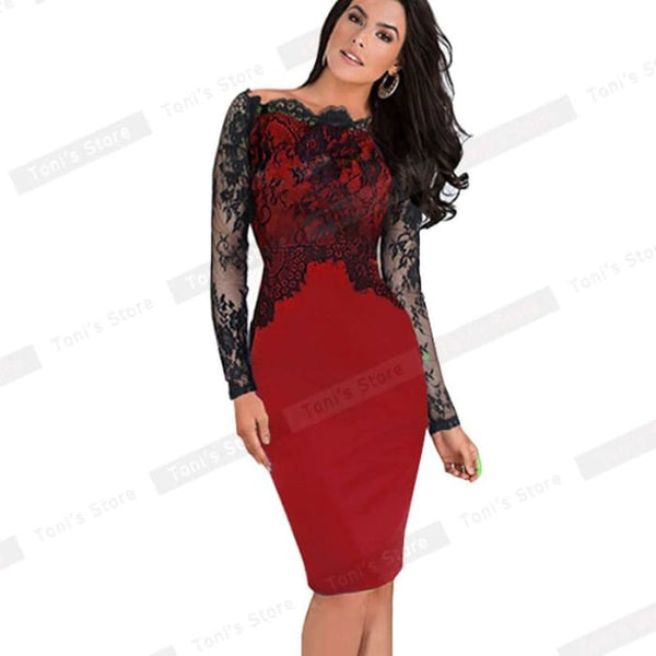Nice-Forever Off-Shoulder Gorgeous Vintage Dress Sexy Slash Neck Lace Top Long Sleeve Zipper Club Wear Casual Pencil Dress 803 Red / Xxxl