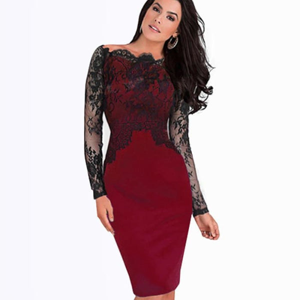 Nice-Forever Off-Shoulder Gorgeous Vintage Dress Sexy Slash Neck Lace Top Long Sleeve Zipper Club Wear Casual Pencil Dress 803 Dresses