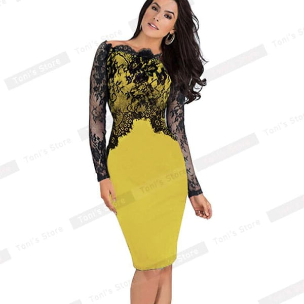 Nice-Forever Off-Shoulder Gorgeous Vintage Dress Sexy Slash Neck Lace Top Long Sleeve Zipper Club Wear Casual Pencil Dress 803 Yellow / Xxxl