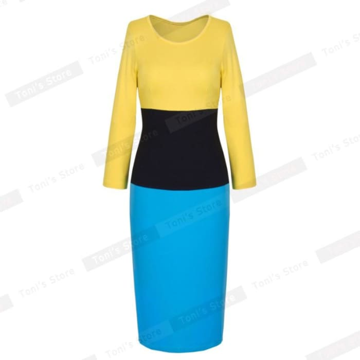 Nice-Forever Overseas Retro Colorblock Vintage Office Pencil Dress Stylish Women Elegant Tunic Sheath Bodycon Dress 970 Blue / L Dresses