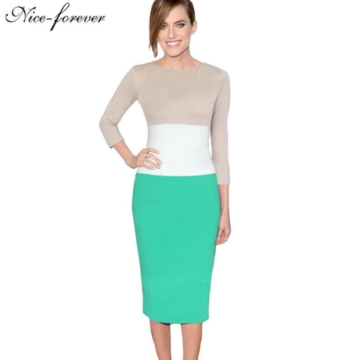 Nice-Forever Overseas Retro Colorblock Vintage Office Pencil Dress Stylish Women Elegant Tunic Sheath Bodycon Dress 970 Dresses