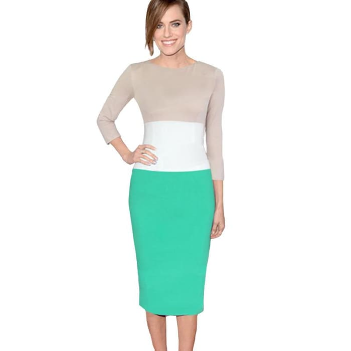 Nice-Forever Overseas Retro Colorblock Vintage Office Pencil Dress Stylish Women Elegant Tunic Sheath Bodycon Dress 970 Green / L Dresses