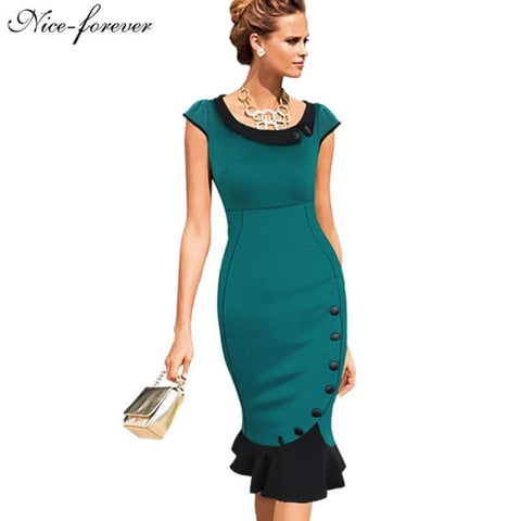 Nice-Forever Plus Size Patchwork Dress Sleeveless Women Elegant Office Button Mermaid Work Wiggle Pencil Casual Dress 854 Dresses