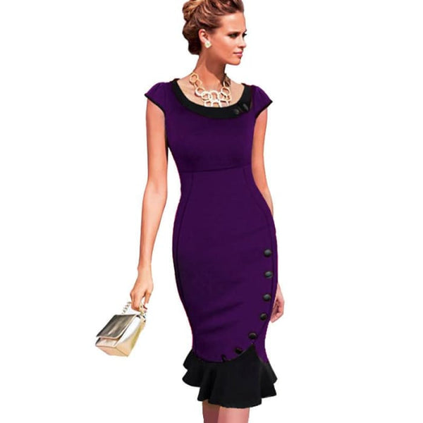 Nice-Forever Plus Size Patchwork Dress Sleeveless Women Elegant Office Button Mermaid Work Wiggle Pencil Casual Dress 854 Purple / 4Xl