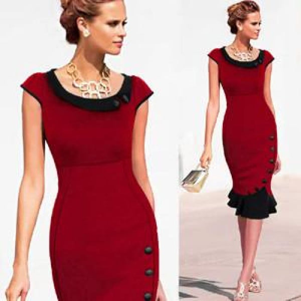 Nice-Forever Plus Size Patchwork Dress Sleeveless Women Elegant Office Button Mermaid Work Wiggle Pencil Casual Dress 854 Red / 4Xl Dresses