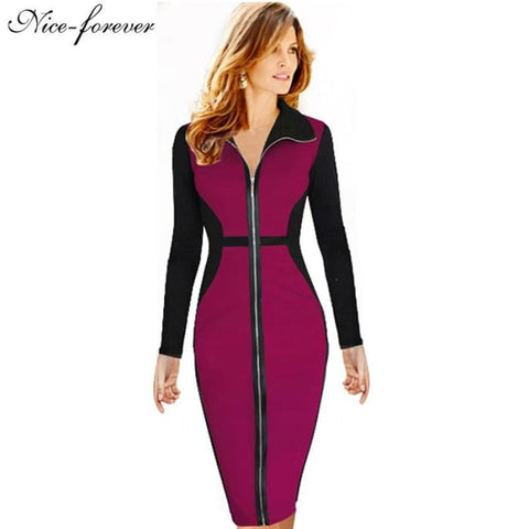 Nice-Forever Plus Size Vintage Dress Winter Full Sleeve Illusion Patchwork Women Office Work Bodycon Business Midi Dress B09 Dresses