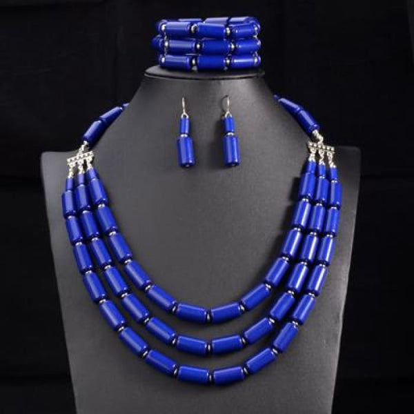 Nigerian Wedding Indian Jewelry Sets Beads Necklace Earring Bracelet Sets Blue Jewelry Sets
